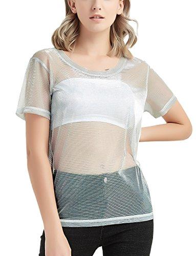 Perfashion Silver Metallic Shimmer Mesh Top Tee Shirt for ()