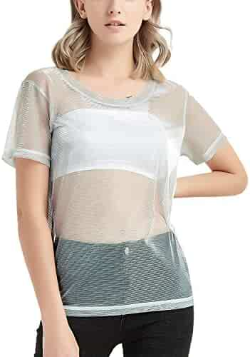 93796405f4d Perfashion Holographic Mesh Shirt Metallic Shimmer See Through Shiny Top  for Women
