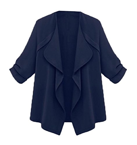 Women Trench Howme Down Plus blue Size Navy Coat Turn Slim Solid Collar FqZdxwRZ