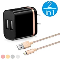 2in1 SEGMOI [Apple MFi Certified] Lightning Charger Cable 3ft/1M Nylon Braided Cord + US Plug Dual USB Port Wall Adapter for iPhone 5 5s SE 6 6S 6Plus 7 7Plus