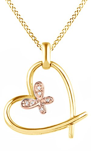 Jewel Zone US Natural Diamond Accent Butterfly Tilted Heart Pendant Necklace in 14k Yellow Gold Over Sterling Silver