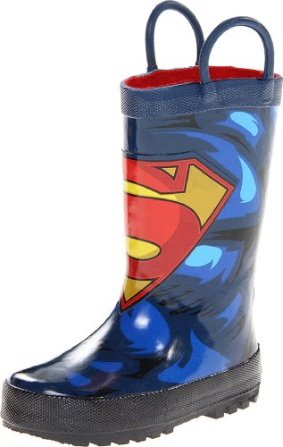 Western Chief Kids Waterproof D.C. Comics Character Rain Boots with Easy on Handles, Superman Forever, 9 M US -