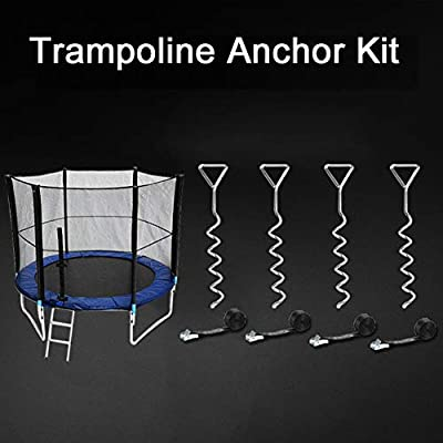 Set of 4 Safety Galvanized Ground Anchor Spiral Wind Stakes and Tie Down Straps letsgood Heavy Duty Trampoline Anchor Kit