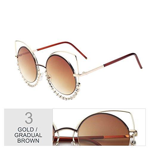 mujeres de Cat Diamond de Gafas plata Gold Eye TL el Brown sol gradual sol Gradual de de gafas degradado a Señor tonos de Sunglasses de UV400 gafas gris para espejo wI5OqEOg