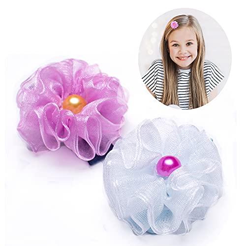 Girl's Flower Hair Clips, Handmade Cute Hair Holder, Hairpins Set for Baby Girls Teens Toddlers, Pack of 2