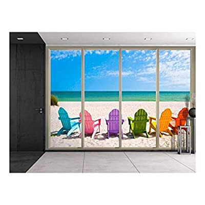 Colorful Chairs on The Sand Looking Over The Blue Ocean Viewed from Sliding Door Creative Wall Mural Peel and Stick Wallpaper, it is good, Marvelous Expertise
