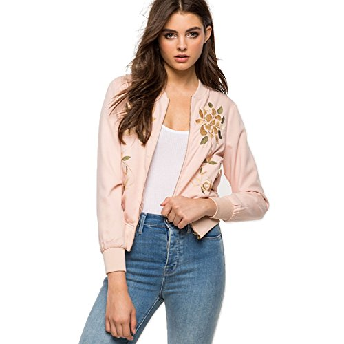 Innermost Womens Classic Embroidery Short Casual Bomber Pink Jacket (L, (Simple Choir Costumes)
