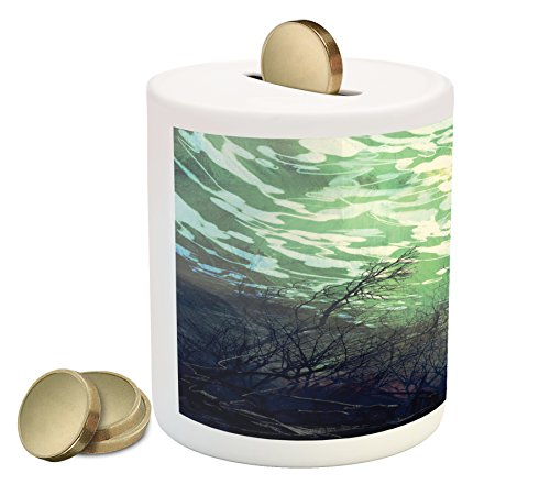 Underwater Branches (Fantasy World Piggy Bank by Ambesonne, Underwater World with Tree Branches Stones Waves and Reflection of Sun Digital Art, Printed Ceramic Coin Bank Money Box for Cash Saving, Green)