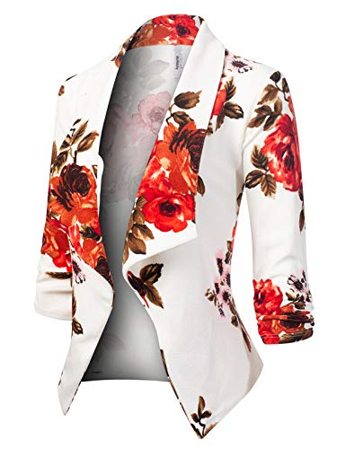 MixMatchy Women's [Made in USA] Classic 3/4 Gathered Sleeve Open Front Blazer Jacket (S-3XL) Flower Print #2 3XL ()