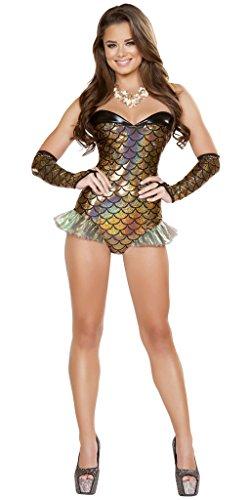 Musotica Flounder Mermaid Halloween Costume - Gold/Black - Large