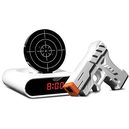 Sharper Image Laser Target Alarm Clock for Heavy Sleepers, Blast The Bullseye to Turn Off, Forces You Awake, Digital Display, 2 Customizable Alarm Modes, Battery Powered, for Kids or Adults