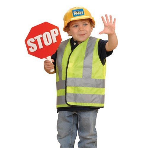 Classroom Career Outfits For Kids- Road Worker with Vest, Helmet and Stop Sign