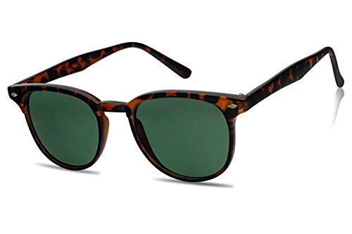 Sunglass Stop - Vintage Inspired Horned Rim Round P-3 Unisex Sunglasses (Tortoise | Classic Green (Green Tortoise Sunglasses)