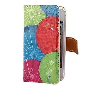ZXM-Classic Paper Umbrella PU del patrón de caso completo de cuerpo con ranura para tarjeta y el soporte para el iPhone 4/4S