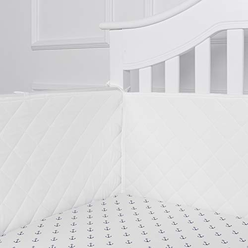 """TILLYOU 14"""" High Quilted Crib Bumper Pads for Standard Cribs Baby Safe Machine Washable Padded Crib Liner Thick Padding for Rails, 4-Piece Bumper Guards Protector, 100% Microfiber Polyester, White"""