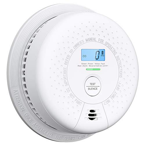 Combination Smoke Detector and Carbon Monoxide Detector Alarm with Display | 10 Year Sealed Battery Operated | Easy Installation, Auto-Check, SC01