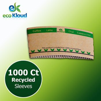 eco Kloud Recycled Paper Sleeves for 12 & 16 oz Hot Cups - 1000 count - Dixie Paper Water Cups