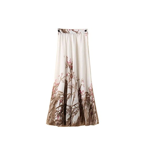Kaxuyiiy Women's Boho Flower Chinese Painting Beach Maxi Elastic Waist Long Skirt (Brown Plum Flower) ()