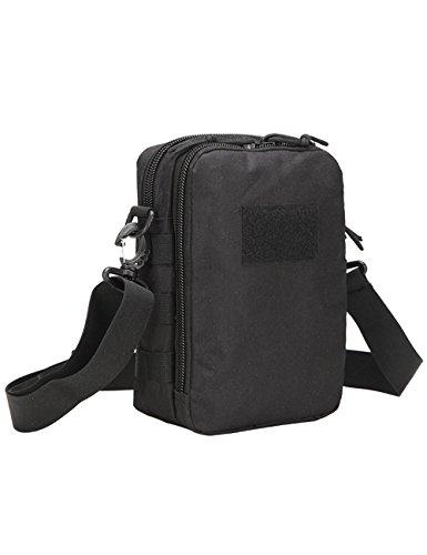 Menschwear Outdoor Sports casual lienzo bolso de hombro Crossbody Bolsa Mochila de pecho de desequilibrio Verde Negro