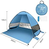 FITFIRST Pop up Tent, Automatic Portable Beach Tent, Water Resistant Camping Tent with Carry Bag for Backpacking,Ideal Shelter for Casual Family Camping,Hiking,Outdoor Use-Green/Blue