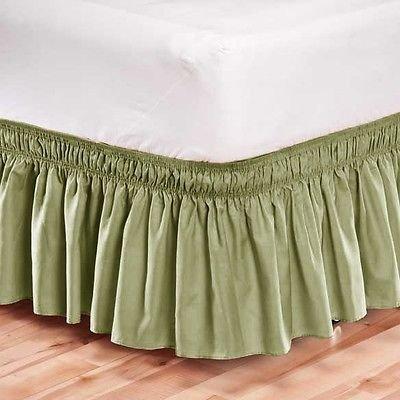 LINEN Elastic Bed Skirt Dust Ruffle Easy Fit/Full Size/Green