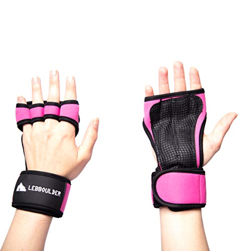 LEBBOULDER Cross Training Gloves Wrist Support WODs,Gym Workout,Weightlifting & Fitness-Silicone Padding, No Calluses-Suits Men & Women-Weight Lifting Gloves a Strong Grip (Pink, ()
