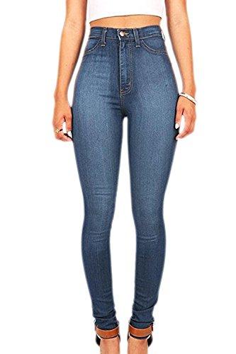 Les Pantalons En Jean Taille Haute, Printemps Automne Long Pantalon Extensible LightBlue