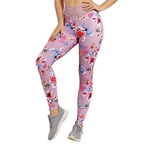 K BAO Women Fashion Yoga Pants Scrunch Booty Striped Waist Fitness Workout Gym High Waist Camo Sport Capri Leggings (L, Pink)