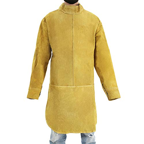 Cowhide Suit - Mufly Welding Suit Safety Apparel Cowhide Leather Work Apron Fire&Wear Resistant Welding Bib Apron,Yellow,One Size