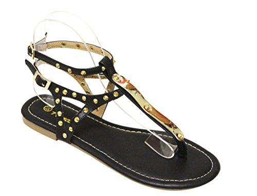decor Riley Anna toe Womens thong PU stud slingback Black ankle straps sandals wRnnxFTXp