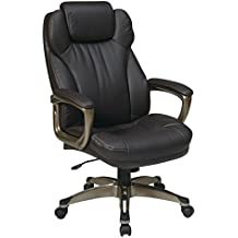 Office Star Executive Eco Leather Chair with Padded Arms, Adjustable Headrest, and Cocoa Coated Frame, Espresso