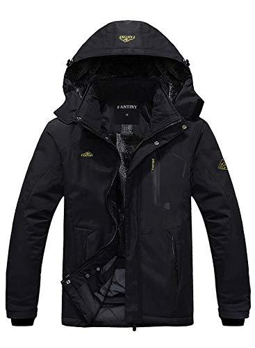 Men's Mountain Waterproof Ski Jacket Windproof Rain JacketUI18WCFYHWC028,Black,XL