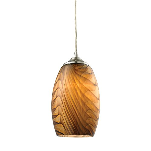 Elk Tidewaters 1 Light Pendant In Satin Nickel And Amber Glass - 31630/1