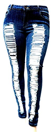 Stretch Distressed Ripped Blue Skinny Denim Jeans Pants (14, Blue Ripped Jeans N629) ()