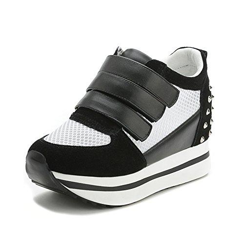 Ciabatte Da Donna Comode Sneakers Con Zeppa Piattaforma Allaperto Punta Rotonda Tallone Nascosto Scarpe Da Corsa Nere
