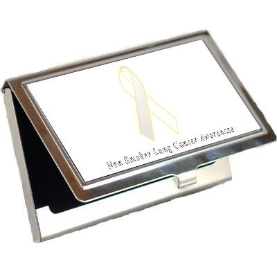 Non Smoker Lung Cancer Awareness Ribbon Business Card Holder