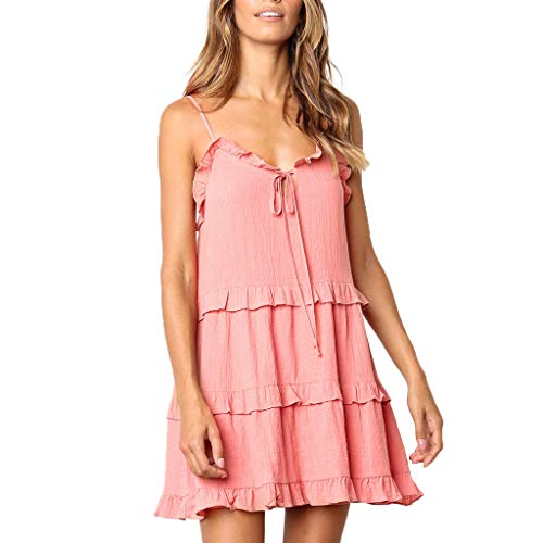 (✔ Hypothesis_X ☎ Ruffle Dresses for Women Swing Tunic Tops Casual Loose V Neck Sleeveless Princess Dress Pink)
