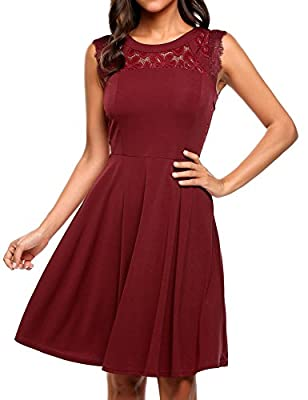 Elesol Women's Elegant Lace A-Line Sleeveless Pleated Cocktail Party Dress