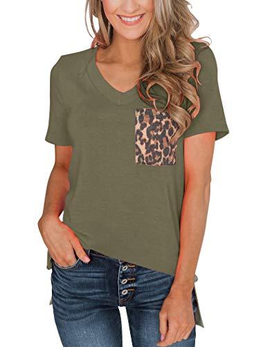 (Minthunter Women's Casual Basic Tops Short Sleeve V Neck T Shirt with Leopard Pocket (Large, Olive))