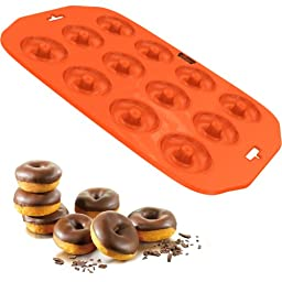 Silicone Mini Donut Maker Baking Pan Tray - 12 Holes - Pure Food Grade Premium Non-Stick Silicon - Orange - Bake Like a Professional