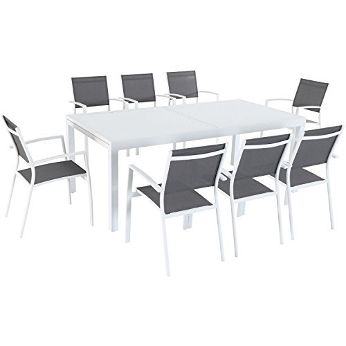 Mōd Furniture HARPDN9PC-WHT Mod Furniture Harper 9-Piece Outdoor Set with 8 Sling Chairs and a 40