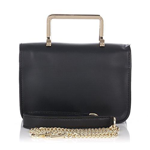 Laura Moretti - Pequeño bolso de piel auténtica con correa metálica y de cuero Negro