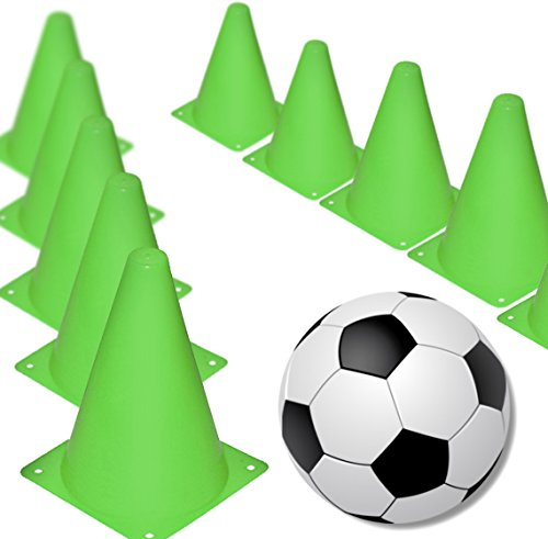 (Novelty Place 7 inch Multipurpose Training Cones (Set of 12), Soft & Durable Traffic Cone Safety, Agility, Soccer, Football & Other Activities - Neon Green)