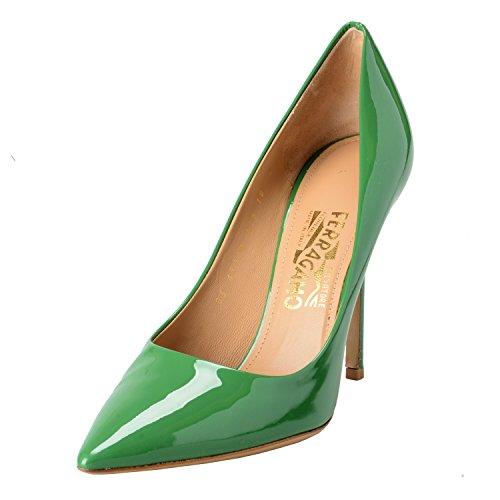 (Salvatore Ferragamo Susi 100 G Women's High Heels Shoes US 9.5B IT 10B EU 41B Green)