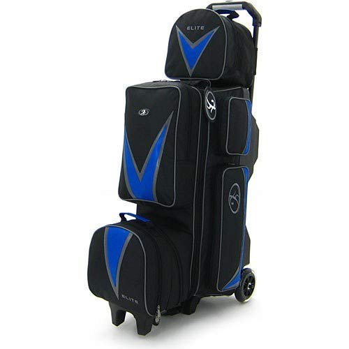 Elite Deluxe 3-4-5 Blue Bowling Bag - League & Tournament Roller - Holds Up to 5 Bowling Balls -