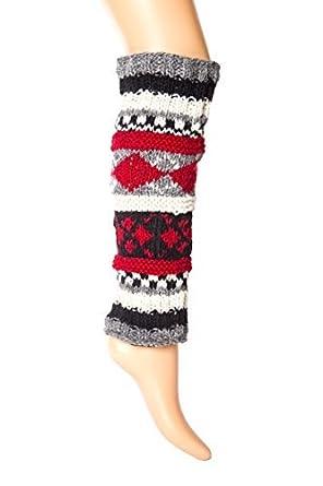 b6b0c578dd0c Black/Red Hand Knit Pure Wool Fleece Lined Leg Warmers | Tibetan Socks at  Amazon Women's Clothing store: