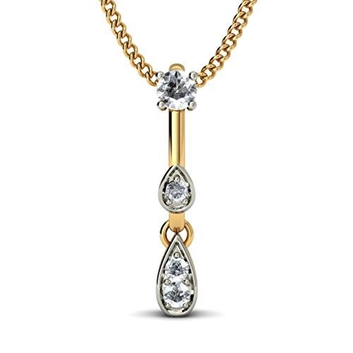 14 K Or jaune 0,13 CT TW Round-cut-diamond (IJ | SI) Pendentif