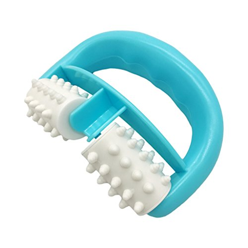 VANCIC 13.5*8.5*4cm Plastic Manual Round Handle 2 Wheels Muscle Massage Roller Massager Cellulite Roller for Legs Arms Back Muscle Pain Relief and Muscle Relaxation (Blue)