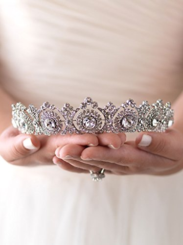 USABride Wedding Tiara Bridal Crown Vintage Antique Silver-Plated Rhinestone Headpiece 3286 by !iT Jeans (Image #1)
