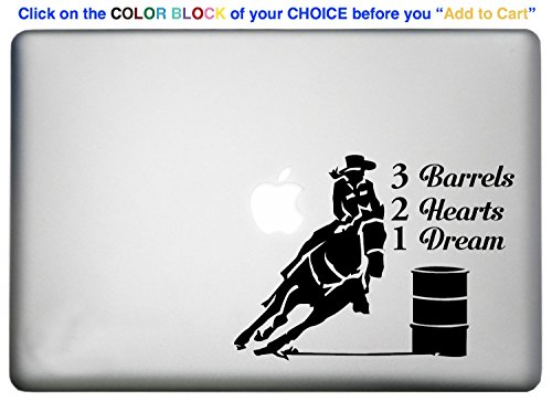BARREL RACING RODEO Decor Macbook Sticker Decal is a 3 barrels 2 hearts 1 dream macbook. Laptop Sizes 11, 12, 13 and 15 inch. Cowgirl Barrel Racer Silhouette theme. Many (Cowgirl Barrel)